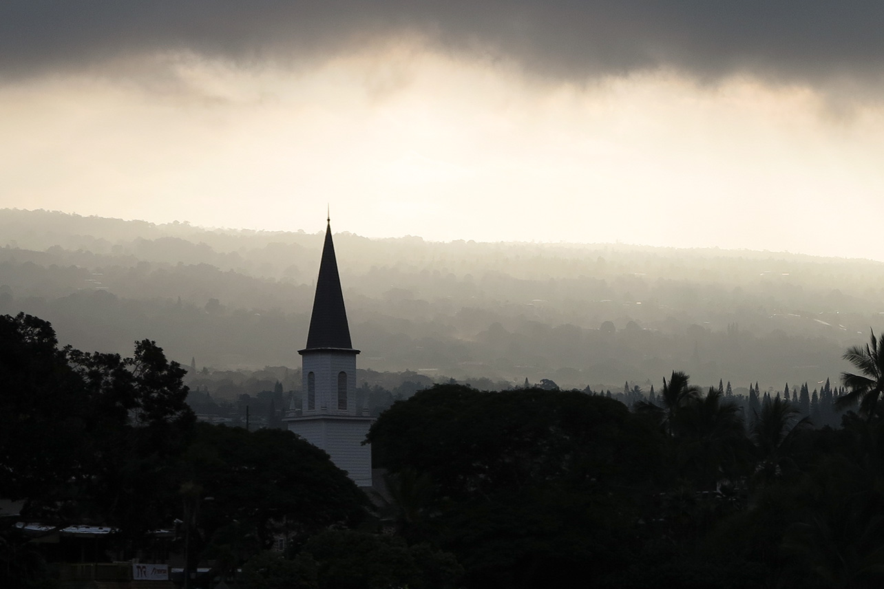 Kailua-Kona in the morning mist