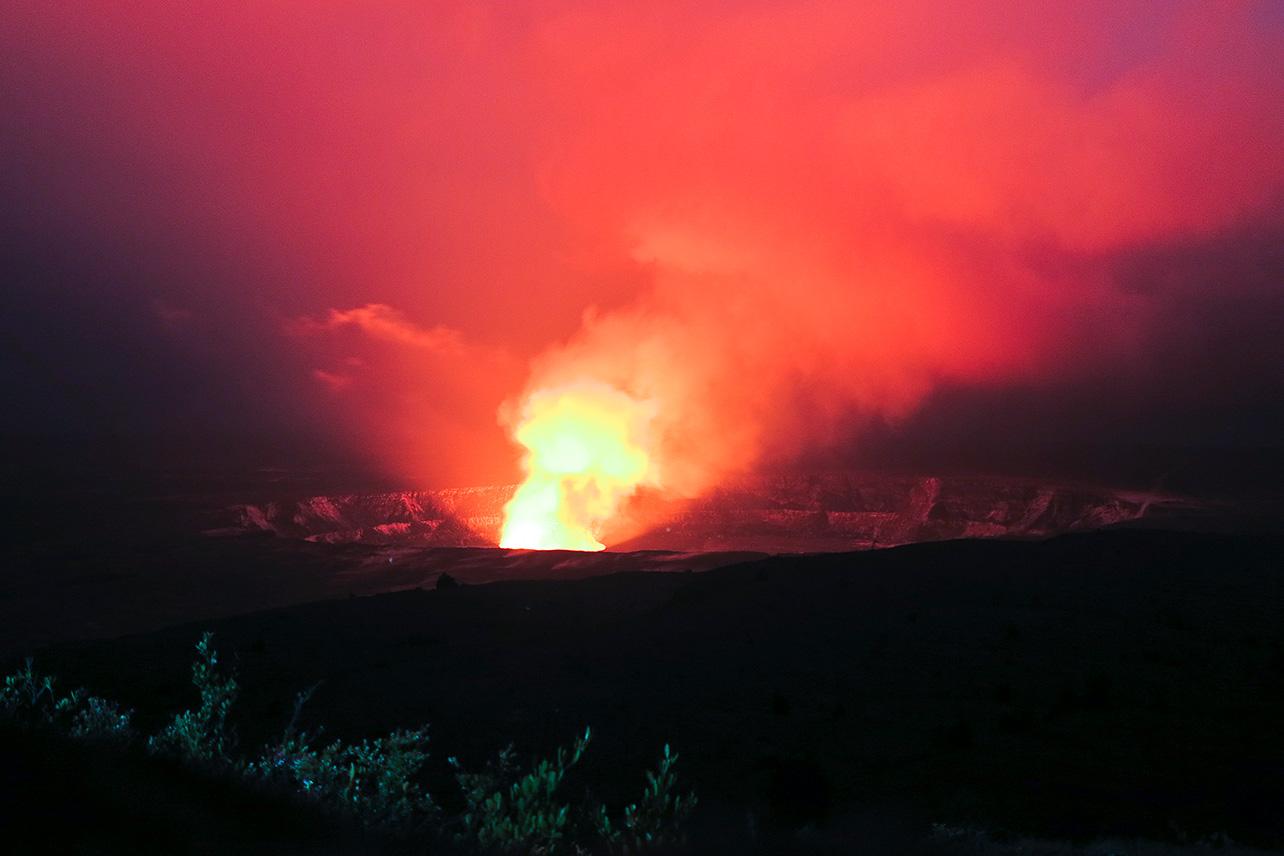 Halemaumau Crater, Big Island by night.