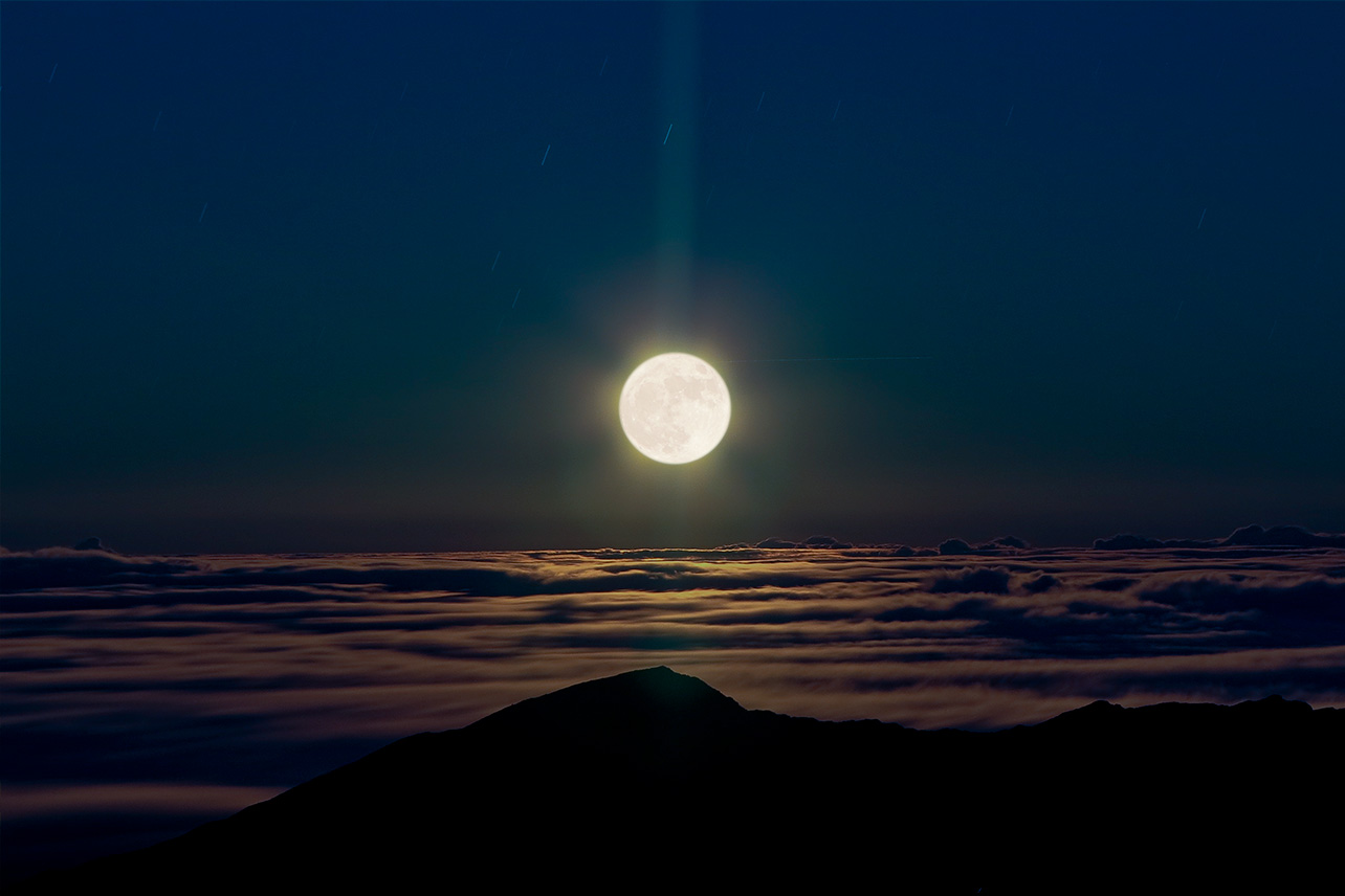 Moon rise over Haleakala, Maui, Hawaii