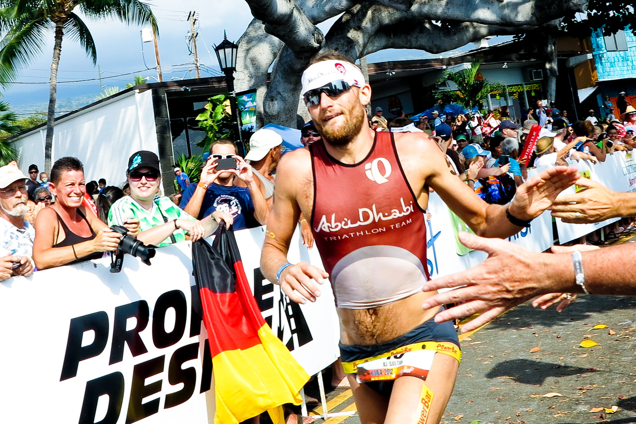 Faris al Sultan in the home stretch at the Ironman Hawaii, 2012.