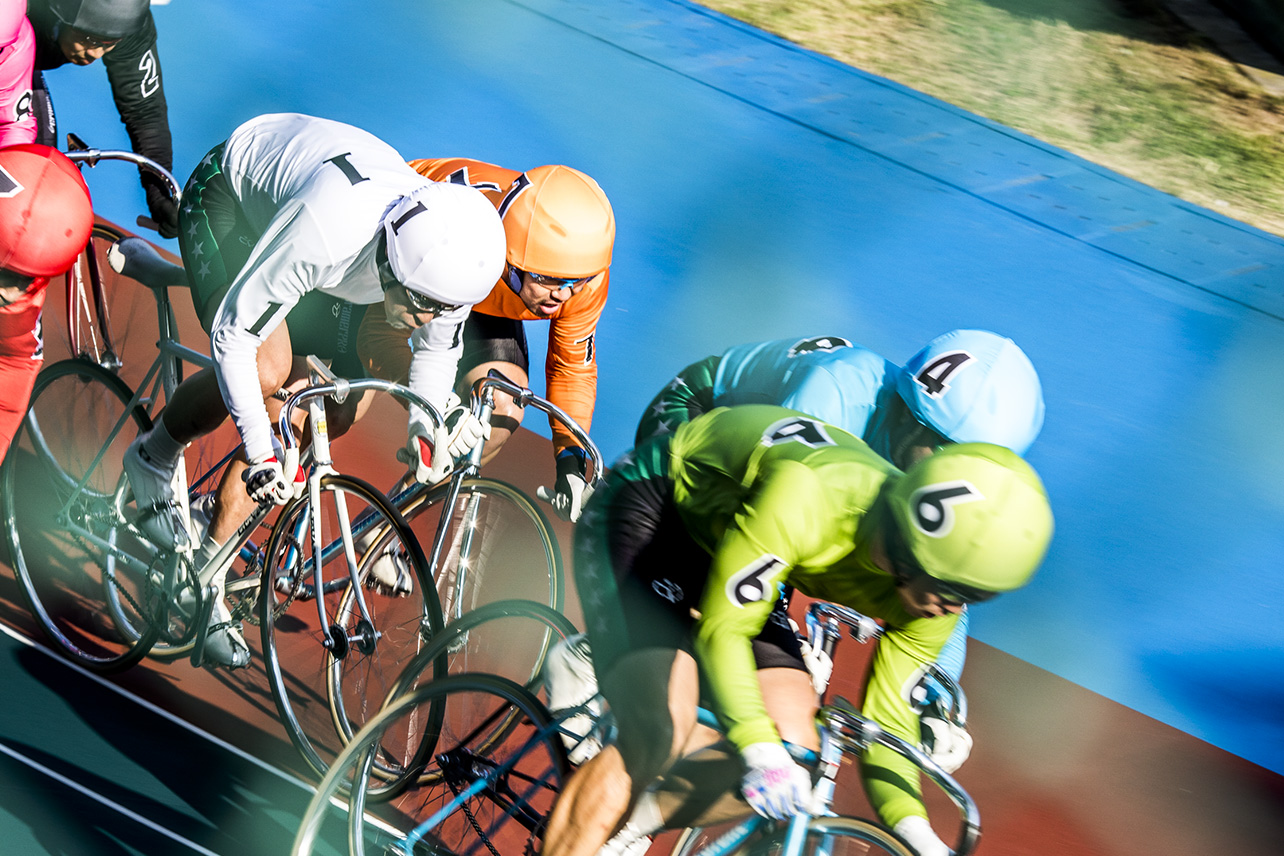 Cyclists at the Tachikawa Velodrome