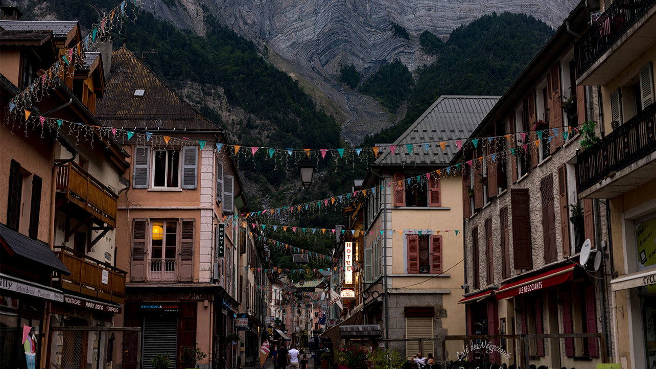 Evening atmosphere in Bourg d'Oisans, our destination.