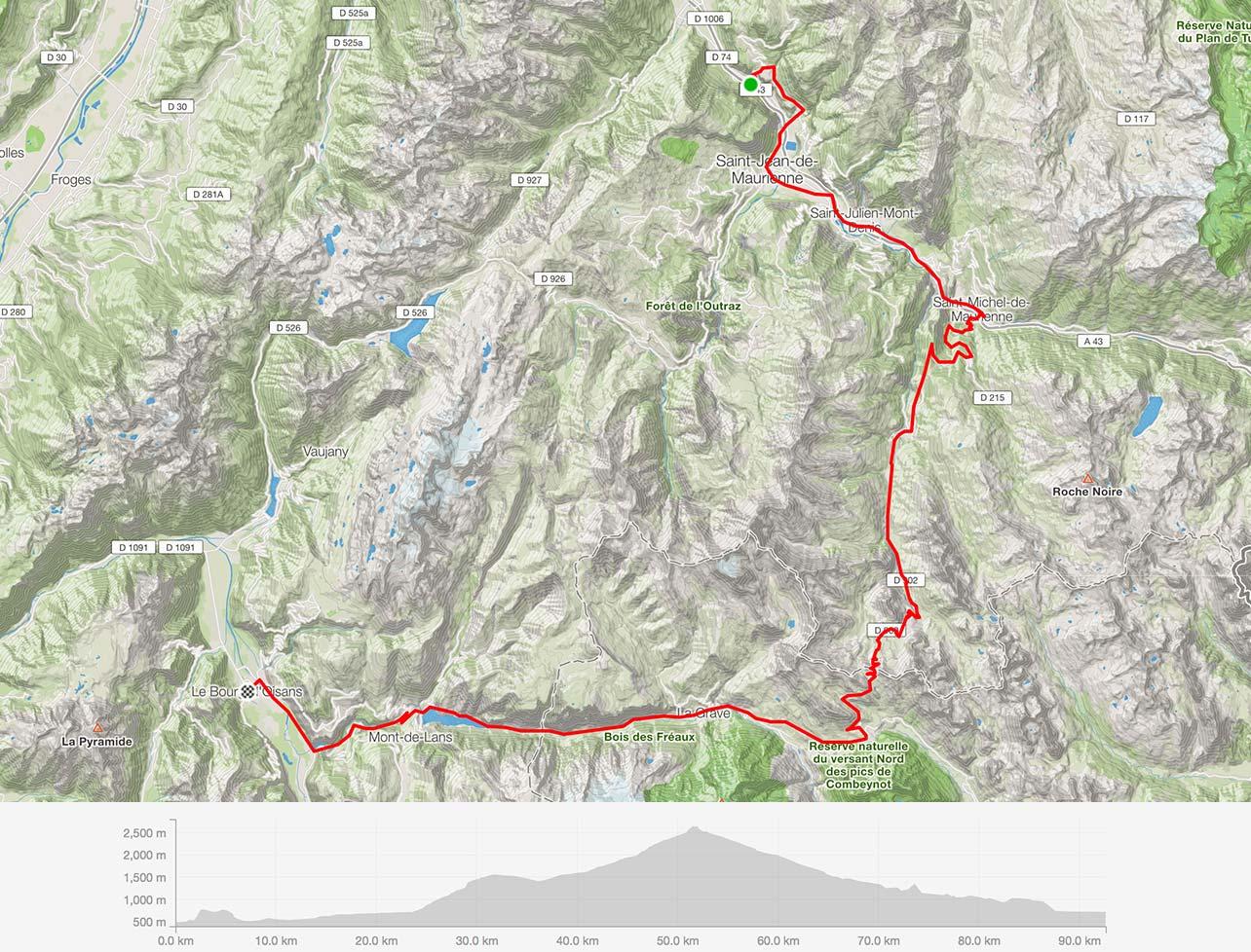 Lacets de Montvernier, Col du Télégraphe · 1,566 m (5,137 ft), Col du Galibier · 2,645 m (8,678 ft)